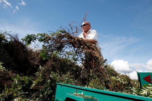 Mies nostaa oksia ja risuja auton peräkärrystä puutarhajätealueella Ruskossa.